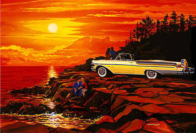 57 Merc Sunset Poster