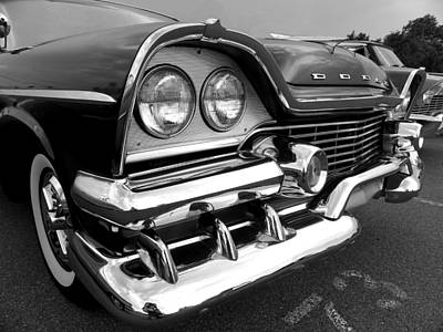 58 Plymouth Fury Black And White Poster
