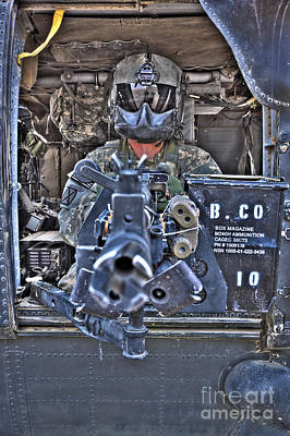 Hdr Image Of A Uh-60 Black Hawk Door Poster by Terry Moore