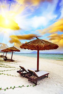 Sandy Tropical Beach Poster