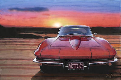 Poster featuring the painting '67 Corvette Sunset by Rod Seel