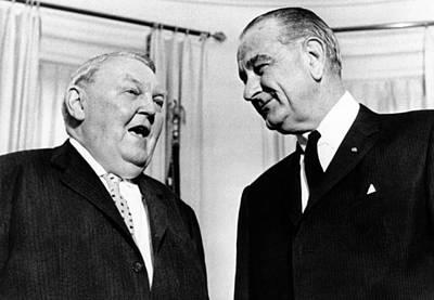 President Lyndon Johnson Meeting Poster by Everett