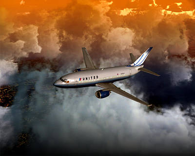 Poster featuring the digital art 737 Ua 20x16 01 by Mike Ray