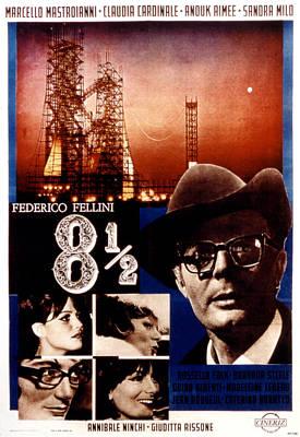 8 12, Marcello Mastroianni, 1963 Poster