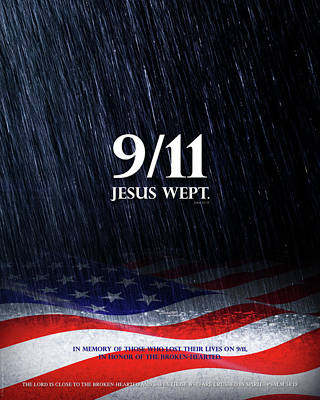 Poster featuring the mixed media 9-11 Jesus Wept by Shevon Johnson
