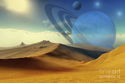 A Beautiful Desert Planet And Its Moons Poster by Corey Ford