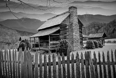 A Black And White Photograph Of An Appalachian Mountain Cabin Poster