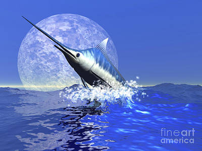 A Blue Marlin Bursts From The Ocean Poster by Corey Ford