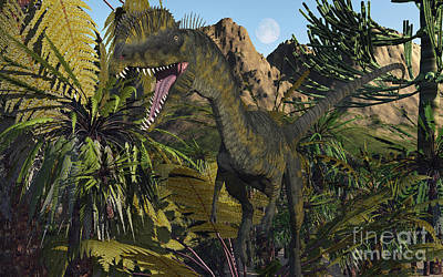 A Carnivorous Dilophosaurus Looking Poster by Mark Stevenson