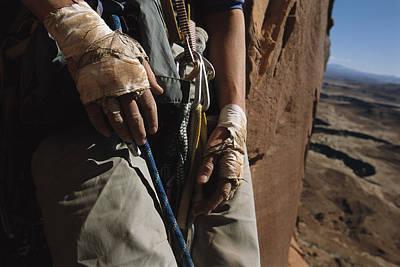 A Close View Of Rock Climber Becky Poster