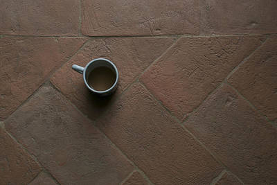 A Cup Of Coffee Sits On A Tuscan Villa Poster by Heather Perry