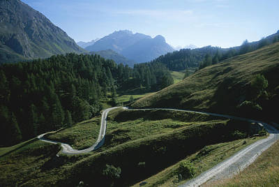 A Curving Mountain Road Outside St Poster
