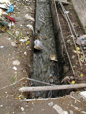 A Dirty Drain With Filth All Around It Representing A Health Risk Poster by Ashish Agarwal