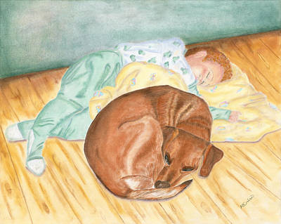 A Dog And Her Boy Poster by Arlene Crafton