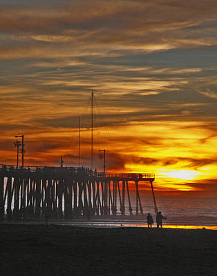 Poster featuring the photograph A Firey Sunset- Pismo Beach by Gary Brandes