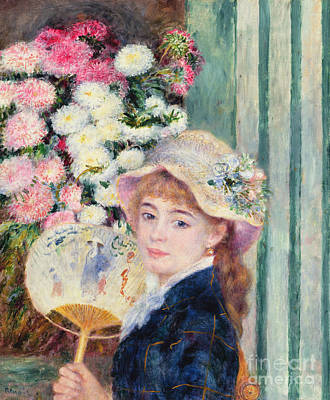 A French Girl With A Fan Poster by Pierre Auguste Renoir
