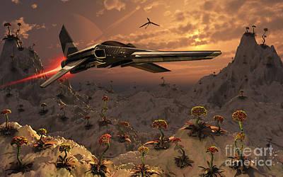 A Futuristic Earth Ship Patrolling Poster by Mark Stevenson