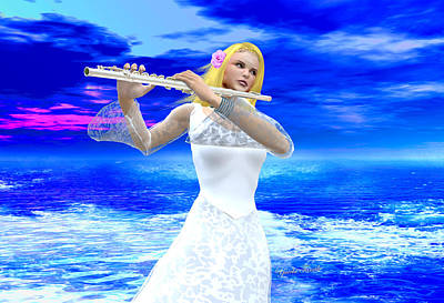 A Girl Playing Flute Poster