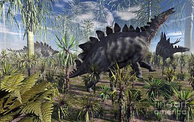 A Group Of Herbivore Stegosaurus Poster by Mark Stevenson