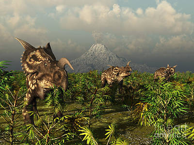 A Herd Of Plant-eating Einiosaurus Roam Poster by Walter Myers