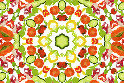 A Kaleidoscope Image Of Salad Vegetables Poster by Andrew Bret Wallis