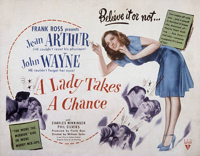 A Lady Takes A Chance, John Wayne, Jean Poster by Everett