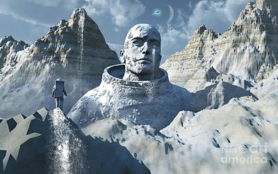 A Lone Astronaut Stares At A Statue Poster