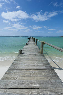 A Long Wooden Jetty At Churchhaven In The West Coast National Park Disappears Into The Turquoise Waters Of The Langebaan Lagoon, Churchhaven, Western Cape, South Africa Poster