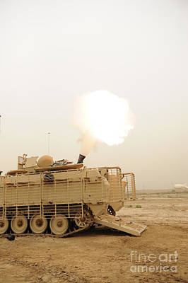 A M120 Mortar System Is Fired Poster by Stocktrek Images