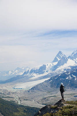 A Man Admires A Glacier Gouged Valley Poster