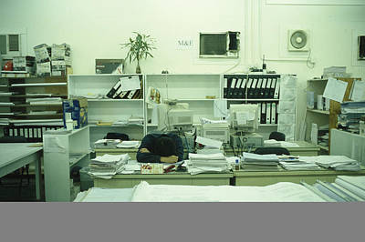 A Man Sleeps At A Desk Poster by Justin Guariglia