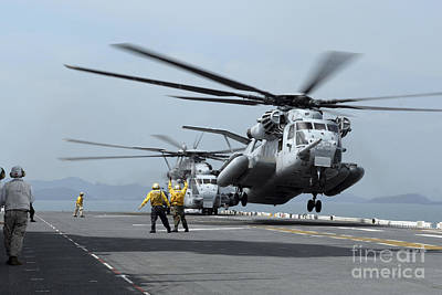 A Marine Mh-53 Helicopter Takes Poster by Stocktrek Images