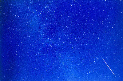 A Meteor Track From The Perseid Meteor Shower Poster