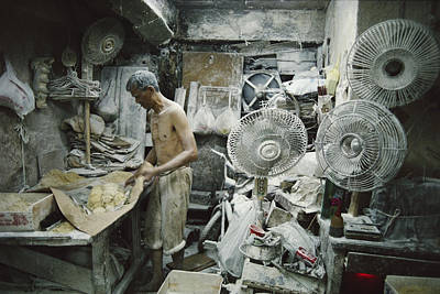 A Noodle Maker Works Covered In Flour Poster