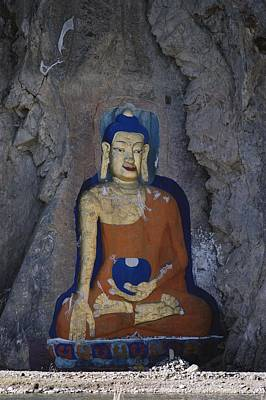 A Painted Stone Buddha Near Lhasa Poster