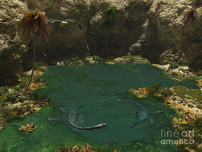 A Pair Of Elasmosaurus Engage Poster by Walter Myers
