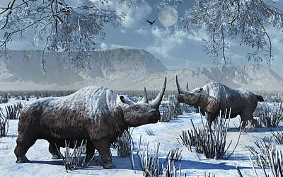 A Pair Of Woolly Rhinoceros In A Severe Poster