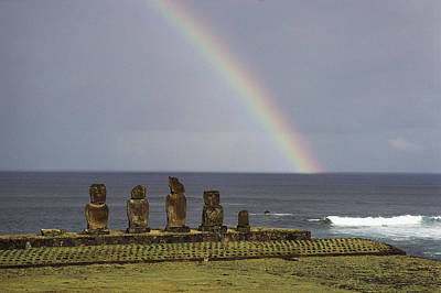 A Rainbow Arches Above Statues Carved Poster