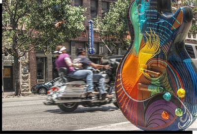 A Rainbow Guitar On Congress In Austin Poster by Jennifer Holcombe