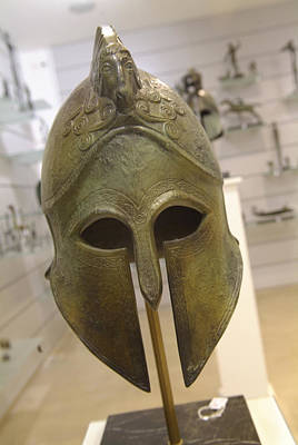 A Replica Of An Ancient Greek Helmet Poster by Richard Nowitz