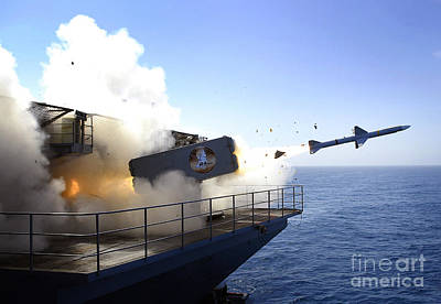 A Rim-7 Sea Sparrow Missile Launches Poster by Stocktrek Images