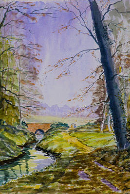 Poster featuring the painting A River Flows Gently by Rob Hemphill