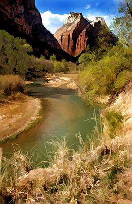 A River Runs Through Zion Poster by Elaine Plesser