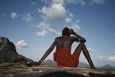 A Samburu Goatherd Takes A Break Poster