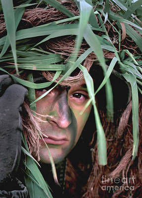 A Soldier Camouflaged In His Ghillie Poster