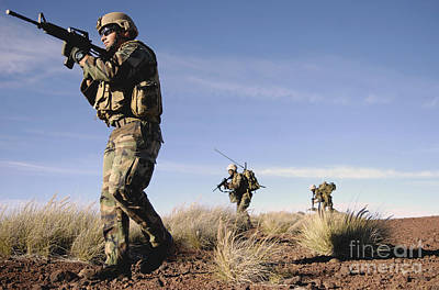 A Soldier Takes Point While Training Poster by Stocktrek Images