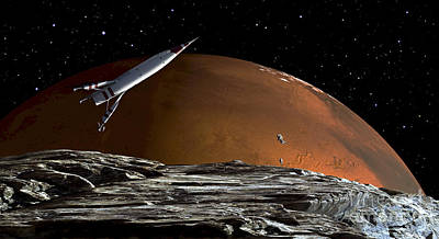 A Spaceship In Orbit Over Mars Moon Poster by Frank Hettick