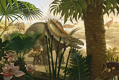A Stenonychosaurus Inequalis Scavenges Poster by Robert Giusti