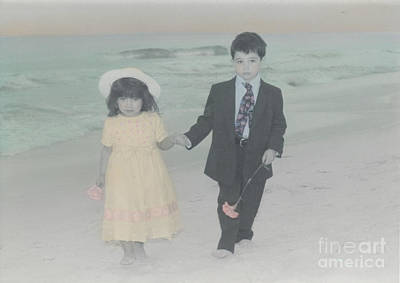 Poster featuring the photograph A Stroll On The Beach by Lori Mellen-Pagliaro