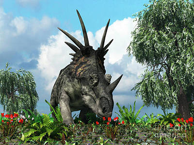 A Styracosaurus Samples Flowers Poster by Walter Myers